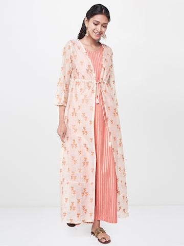 Global Desi Women Off-White & Orange Striped A-Line Kurta with Jacket Global Desi Kurtas at myntra