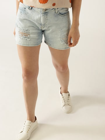 United Colors of Benetton Women Blue Solid Distressed Denim Shorts United Colors of Benetton Shorts at myntra