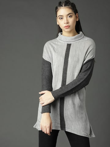 Roadster Women Grey Melange Solid Pullover Roadster Sweaters at myntra