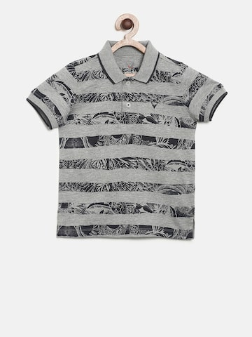 Allen Solly Junior Boys Grey Striped Polo Collar T-shirt Allen Solly Junior Tshirts at myntra