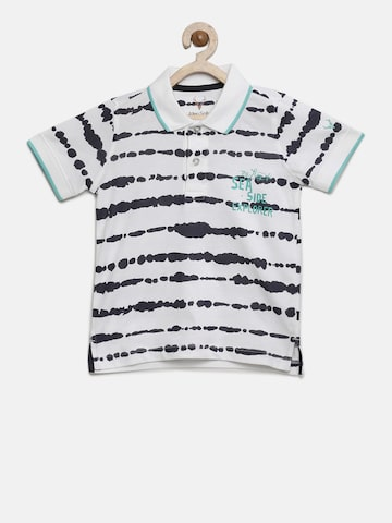 Allen Solly Junior Boys White Printed Polo Collar T-shirt Allen Solly Junior Tshirts at myntra