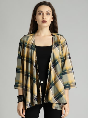 Roadster Yellow & Green Checked Open Front Shrug Roadster Shrug at myntra