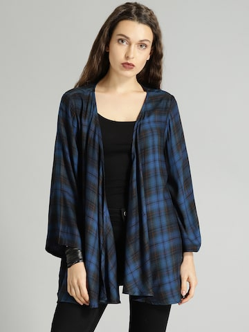 Roadster Blue & Black Checked Open Front Shrug Roadster Shrug at myntra