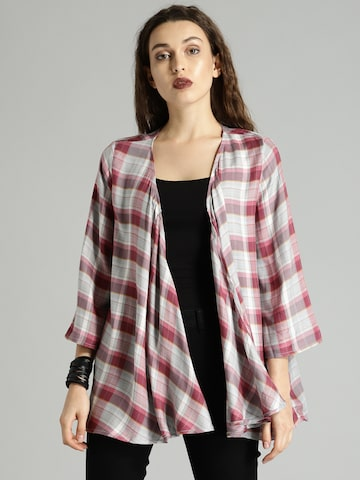 Roadster Grey & Pink Checked Open Front Shrug Roadster Shrug at myntra