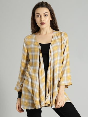 Roadster Mustard Yellow & Grey Checked Open Front Shrug Roadster Shrug at myntra