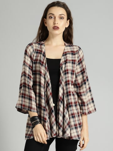 Roadster Beige & Navy Checked Open Front Shrug Roadster Shrug at myntra