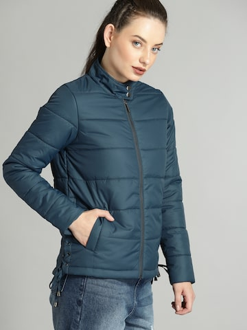 Roadster Women Teal Solid Padded Jacket Roadster Jackets at myntra