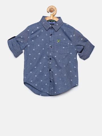 Allen Solly Junior Boys Blue Regular Fit Printed Casual Shirt Allen Solly Junior Shirts at myntra