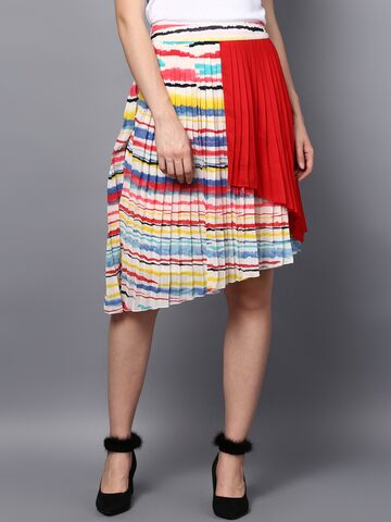 STREET 9 Multicoloured Knee-Length A-Line Skirt STREET 9 Skirts at myntra