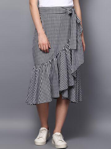 STREET 9 White & Black Checked Wrap Midi Skirt STREET 9 Skirts at myntra