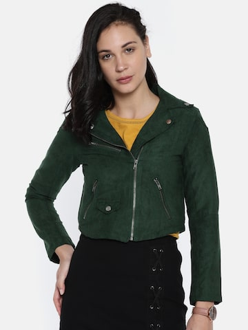 People Women Green Solid Tailored Jacket People Jackets at myntra