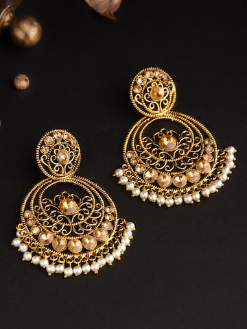 Rubans Gold-Toned & White Classic Chandbalis Rubans Earrings at myntra