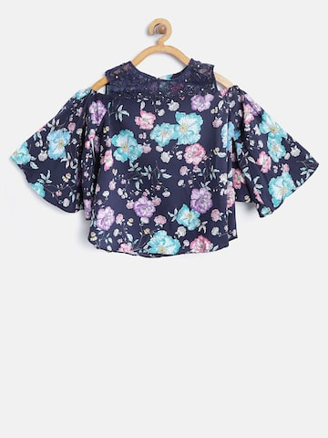Tiny Girl Navy & Purple Floral Print A-Line Top Tiny Girl Tops at myntra
