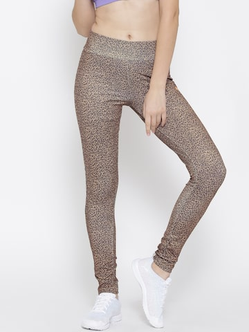 ONLY Beige & Grey Animal Print Leggings at myntra