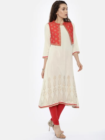 Anahi Women Off-White Printed A-Line Kurta with Jacket Anahi Kurtas at myntra