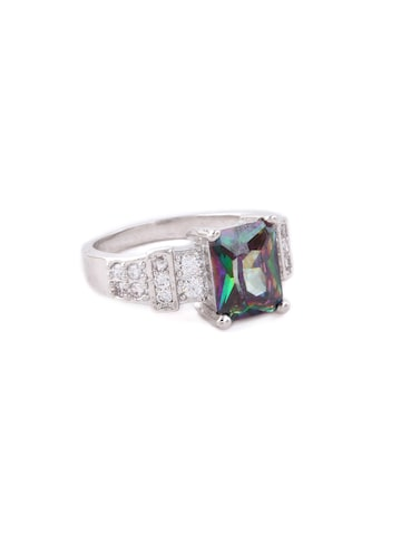 Rubans Silver Toned CZ Studded Multi Color Stone Party Wear Statement Ring Rubans Ring at myntra