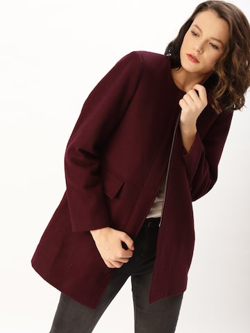 DressBerry Women Burgundy Solid Over Coat DressBerry Coats at myntra