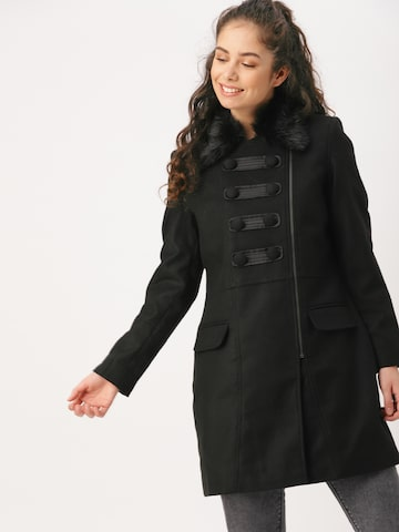DressBerry Black Longline Trench Coat DressBerry Coats at myntra