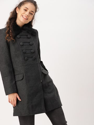 DressBerry Charcoal Grey Longline Trench Coat DressBerry Coats at myntra