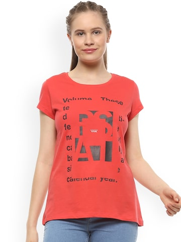People Women Red Printed Round Neck T-shirt People Tshirts at myntra