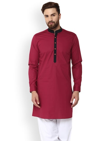 See Designs Men Burgundy Solid A-Line Kurta See Designs Kurtas at myntra