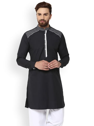 See Designs Men Black Solid A-Line Kurta See Designs Kurtas at myntra