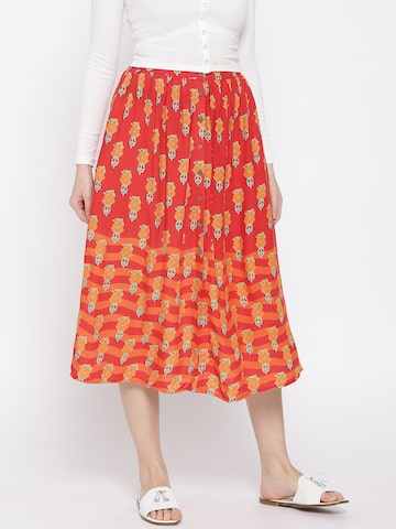 Global Desi Women Red & Orange Printed Skirt Global Desi Skirts at myntra