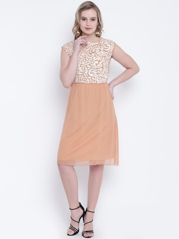 Wills Lifestyle Women Peach-Coloured Solid A-Line Dress Wills Lifestyle Dresses at myntra