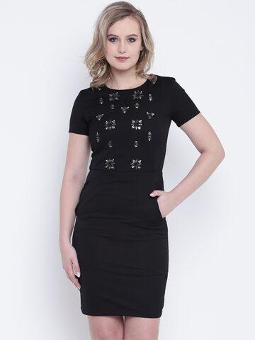 Wills Lifestyle Women Black Embellished Sheath Dress Wills Lifestyle Dresses at myntra