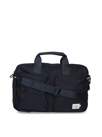 Tommy Hilfiger Black & Black Solid Laptop Bag Tommy Hilfiger Laptop Bag at myntra