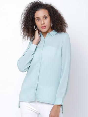 Tokyo Talkies Women Blue Regular Fit Solid Casual Shirt Tokyo Talkies Shirts at myntra