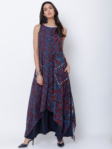 Vishudh Women Blue & Maroon Printed A-Line Kurta Vishudh Kurtas at myntra