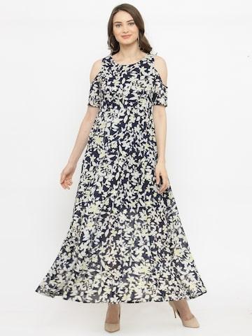 plusS Women Navy Blue Printed Maxi Dress plusS Dresses at myntra