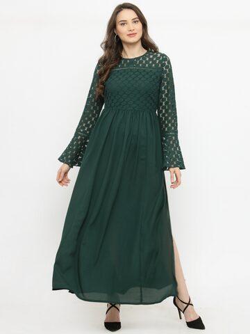 plusS Women Green Self Design Maxi Dress plusS Dresses at myntra