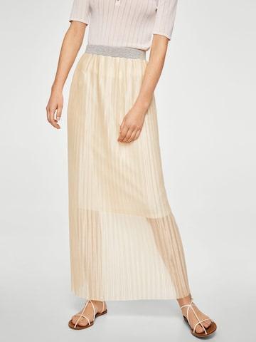MANGO Cream-Coloured Accordian Pleats Maxi Skirt MANGO Skirts at myntra