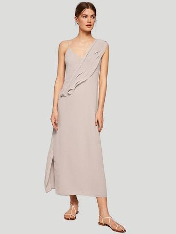 MANGO Women Taupe Solid Maxi Dress MANGO Dresses at myntra