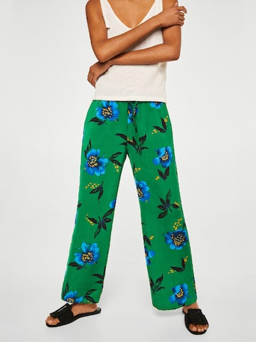 MANGO Women Green & Blue Printed Regular Fit Parallel Trousers MANGO Trousers at myntra
