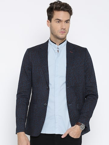 United Colors of Benetton Navy Printed Single-Breasted Casual Blazer at myntra