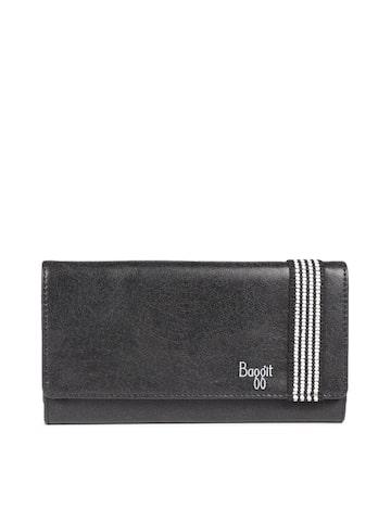 Baggit Women Black Solid Three Fold Wallet Baggit Wallets at myntra