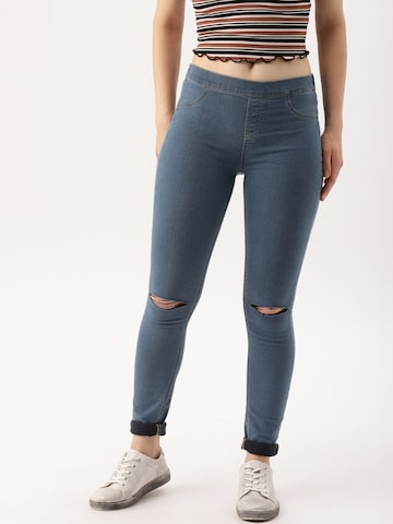 DressBerry Blue Slash Knee Denim Jeggings DressBerry Jeggings at myntra