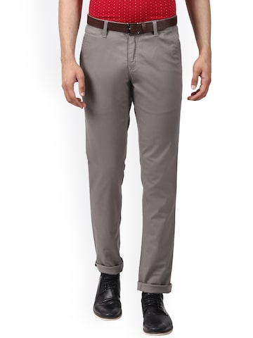Parx Men Grey Slim Fit Solid Chinos Parx Trousers at myntra