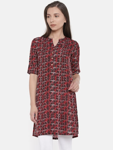 Global Desi Red Printed Tunic Global Desi Tunics at myntra