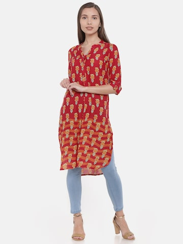 Global Desi Women Red Printed Tunic Global Desi Tunics at myntra