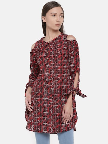 Global Desi Red & Black Printed Cold-Shoulder Tunic Global Desi Tunics at myntra