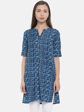 Global Desi Blue Printed Tunic Global Desi Tunics at myntra