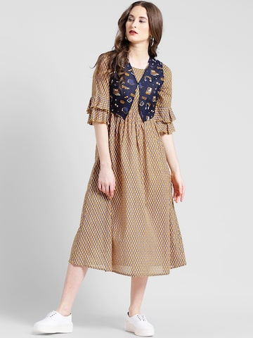 Texco Women Mustard Printed Fit and Flare Dress Texco Dresses at myntra