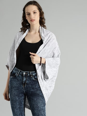 Roadster Off-White & Grey Solid Open Front Shrug Roadster Shrug at myntra