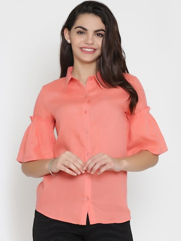Eavan Women Coral Regular Fit Solid Casual Shirt Eavan Shirts at myntra
