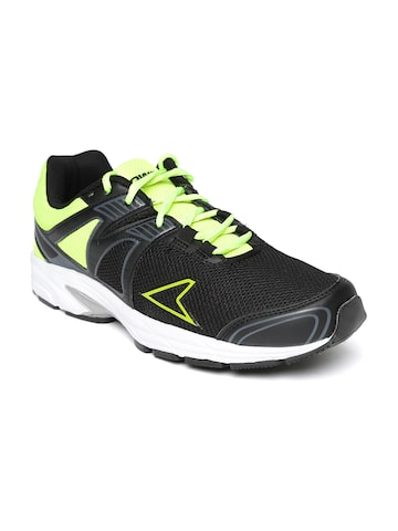 Power Men Black & Fluorescent Green Training Shoes Power Sports Shoes at myntra