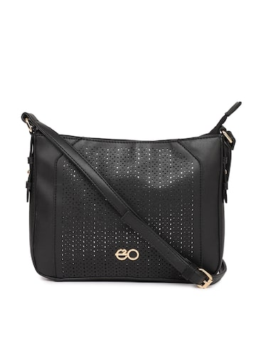 E2O Black Textured Cutwork Sling Bag E2O Handbags at myntra